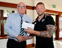 Jamie Thackray receives his man of the match award from chairman David Hughes during the Kingstone Press Championship game between London Broncos and Sheffield Eagles at Ealing Trailfinders, Ealing, on Sun July 9,2016