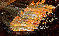 Japanese BBQ king prawns sizzling delicious food photo