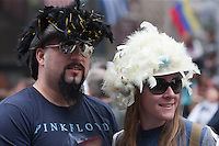 A couple with festive hats during the 2011 New York City Easter Parade.