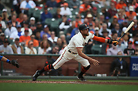 SAN FRANCISCO, CA - AUGUST 9:  Hunter Pence #8 of the San Francisco Giants bats against the Chicago Cubs during the game at AT&T Park on Wednesday, August 9, 2017 in San Francisco, California. (Photo by Brad Mangin)