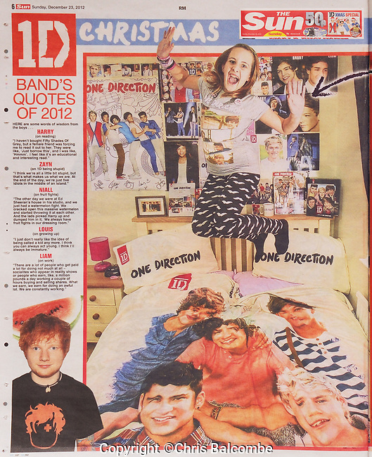 EXCLUSIVE FOR the Sun newspaper. December 2012..One Direction superfan Lili-May from Fareham, Hampshire, UK..Main picture in feature on four young fans. Published 23rd December 2012....Pic: Chris Balcombe..