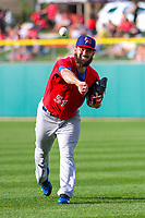 Buffalo Bisons pitcher Brandon Cumpton (51) warms up in the outfield prior to an International League game against the Indianapolis Indians on July 28, 2018 at Victory Field in Indianapolis, Indiana. Indianapolis defeated Buffalo 6-4. (Brad Krause/Four Seam Images)
