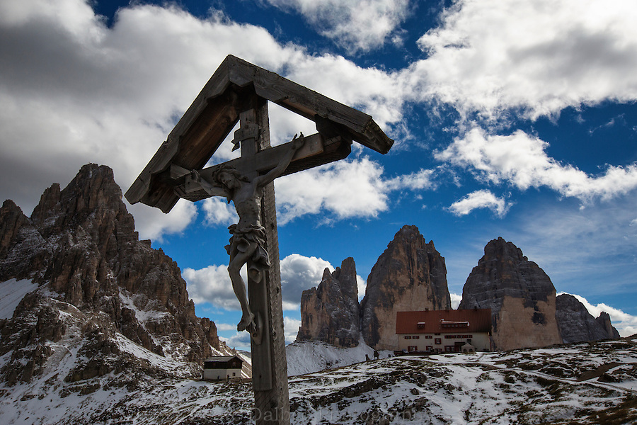 Cross at the Rifugio Locatelli, Tre Cime, Dolomites, Italy