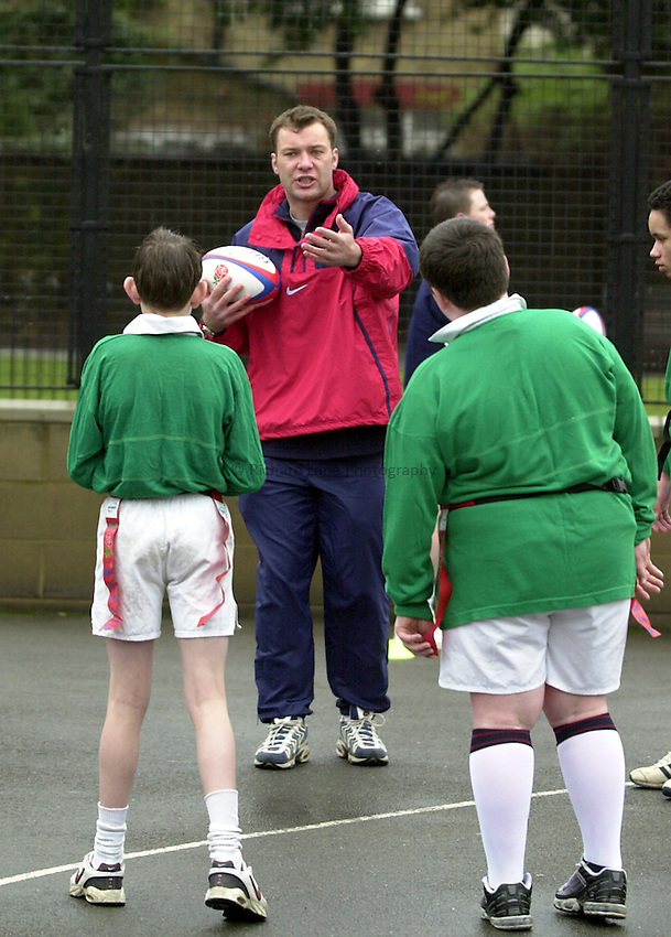 Photo:Ken Brown.22.1.2001 The RFU Youth Development Officers and Trevor Leota through his School of Hard Knocks attempt to recruit players to Rugby from inner-city London. Today they are at Bow Boys School London E3..RFU Coaching