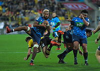 Blues' Akira Ioane takes a high ball during the Super Rugby Aotearoa match between the Hurricanes and Blues at Sky Stadium in Wellington, New Zealand on Saturday, 18 July 2020. Photo: Dave Lintott / lintottphoto.co.nz