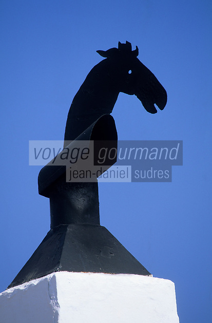 Europe/Espagne/Baléares/Minorque/Sant Lluis : Girouette en forme de cheval
