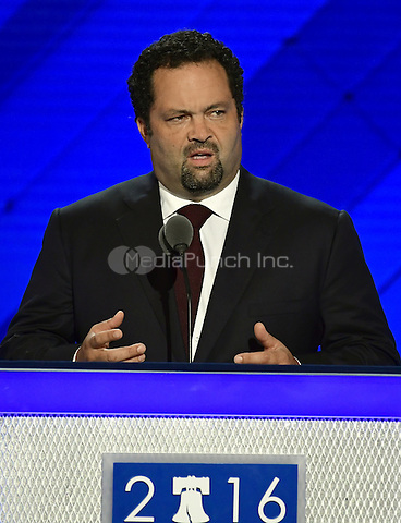 Ben Jealous of Maryland, one of 1900 Bernie Sanders supporters who now supports Hillary Clinton, makes remarks at the 2016 Democratic National Convention at the Wells Fargo Center in Philadelphia, Pennsylvania on Monday, July 25, 2016.<br /> Credit: Ron Sachs / CNP/MediaPunch<br /> (RESTRICTION: NO New York or New Jersey Newspapers or newspapers within a 75 mile radius of New York City)
