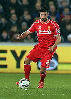 SWANSEA, WALES - MARCH 16: Emre Can of Liverpool in action during the Premier League match between Swansea City and Liverpool at the Liberty Stadium on March 16, 2015 in Swansea, Wales