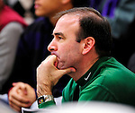 31 January 2010: University of Vermont Catamount men's basketball Head Coach Mike Lonergan watches women's action against the University of New Hampshire Wildcats at Patrick Gymnasium in Burlington, Vermont. The Lady Catamounts defeated the visiting Wildcats 78-64. Mandatory Credit: Ed Wolfstein Photo
