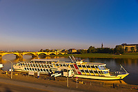 Paddle steamers (river boats) on Elbe River, Dresden, Saxony, Germany