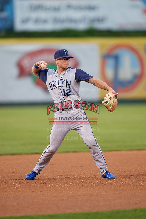 Brooklyn Cyclones third baseman Chandler Avant (12) throws to first base during a game against the Tri-City ValleyCats on August 21, 2018 at Joseph L. Bruno Stadium in Troy, New York.  Tri-City defeated Brooklyn 5-2.  (Mike Janes/Four Seam Images)