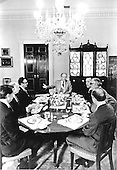 "United States President Gerald R. Ford leads a bipartisan breakfast at the White House in Washington, D.C. on August 15, 1974.  Clockwise from President Ford: United States Senator Henry M. ""Scoop"" Jackson (Democrat of Washington); United States Senator Abraham Ribicoff (Democrat of Connecticut); Major General Brent Scowcroft, National Security Advisor; William Timmons, Legislative Aide to the President; United States Senator Jacob Javits (Republican of New York); and United States Secretary of State Henry Kissinger.<br /> Mandatory Credit: David Hume Kennerly / White House via CNP"