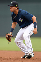 First baseman Jeremy Vasquez (20) of the Columbia Fireflies plays defense in a game against the Greenville Drive on Sunday, May 27, 2018, at Spirit Communications Park in Columbia, South Carolina. Greenville won, 3-0. (Tom Priddy/Four Seam Images)