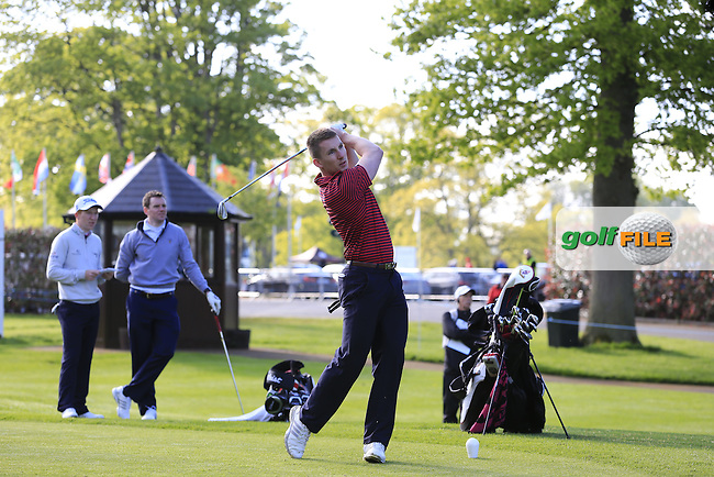 Gavin Moynihan (IRL) team in action during Wednesday's Pro-Am of the 2016 Dubai Duty Free Irish Open hosted by Rory Foundation held at the K Club, Straffan, Co.Kildare, Ireland. 18th May 2016.<br /> Picture: Eoin Clarke | Golffile<br /> <br /> <br /> All photos usage must carry mandatory copyright credit (&copy; Golffile | Eoin Clarke)