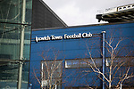 An exterior view of the stadium before Ipswich Town play Oxford United in a SkyBet League One fixture at Portman Road. Both teams were in contention for promotion as the season entered its final months. The visitors won the match 1-0 through a 44th-minute Matty Taylor goal, watched by a crowd of 19,363.