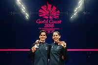 Joelle King of New Zealand with gold in the Women's Singles, Paul Coll of New Zealand with silver in the Men's Singles. Gold Coast 2018 Commonwealth Games, Squash, Oxenford Studios, Gold Coast, Australia. 9 April 2018 © Copyright Photo: Anthony Au-Yeung / www.photosport.nz /SWpix.com