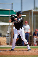 GCL Marlins designated hitter Chad Wallach (49) at bat during a game against the GCL Cardinals on August 4, 2018 at Roger Dean Chevrolet Stadium in Jupiter, Florida.  GCL Marlins defeated GCL Cardinals 6-3.  (Mike Janes/Four Seam Images)
