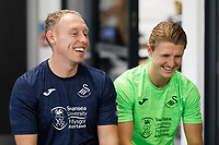 Pictured L-R: Manager Steve Cooper chats with George Byers.  Thursday 27 June 2019<br /> Re: Swansea City FC players report for training at Fairwood training ground, UK