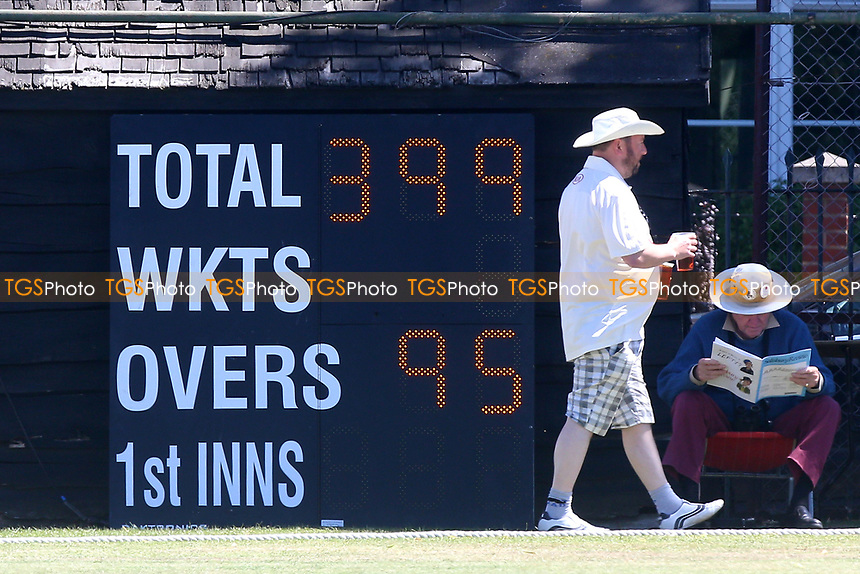 The scoreboard shows that Surrey have fallen one run short of a fifth batting bonus point during Surrey CCC vs Essex CCC, Specsavers County Championship Division 1 Cricket at Guildford CC, The Sports Ground on 10th June 2017