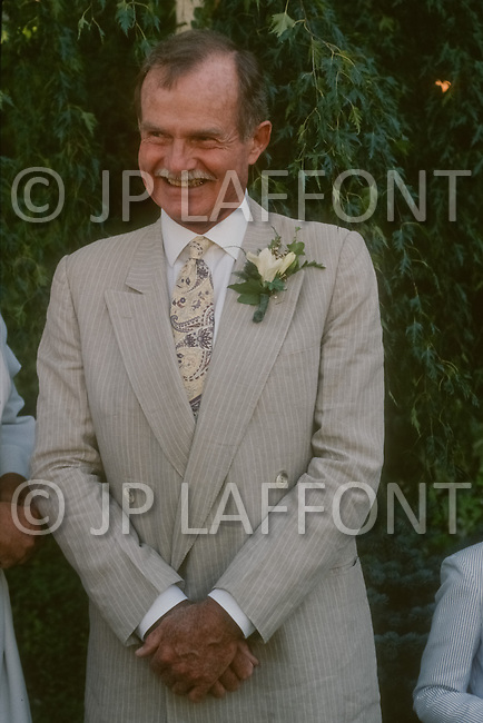Ketchum, Idaho, U.S.A, August, 5th,1989. Jack Hemingway at his wedding party with his second wife Angela Holvey.