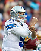Dallas Cowboys quarterback Tony Romo (9) calls signals in the fourth quarter against the Washington Redskins at FedEx Field in Landover, Maryland on Sunday, December 28, 2014.  The Cowboys won the game 44-17.<br /> Credit: Ron Sachs / CNP