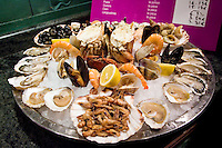 Ready to eat seafood platter at Le Petit Zinc Restaurant near Boulevard Saint Germain, Left Bank, Paris, France