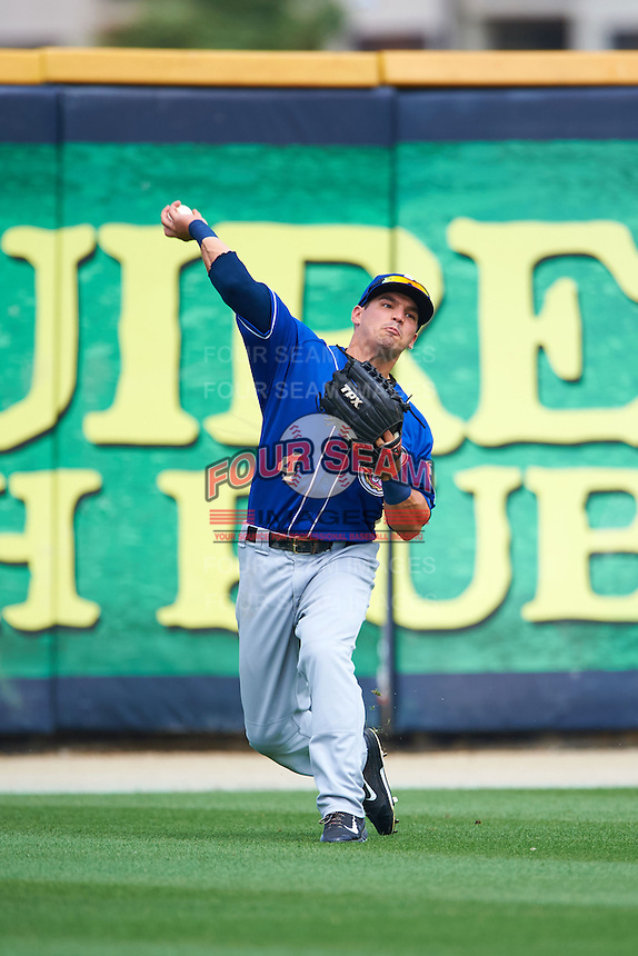 Biloxi Shuckers outfielder Nathan Orf (4) throws the ball in during the first game of a double header against the Pensacola Blue Wahoos on April 26, 2015 at Pensacola Bayfront Stadium in Pensacola, Florida.  Biloxi defeated Pensacola 2-1.  (Mike Janes/Four Seam Images)