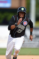 Kane County Cougars third baseman Jeimer Candelario (27) running the bases during a game against the Quad Cities River Bandits on August 20, 2014 at Third Bank Ballpark in Geneva, Illinois.  Kane County defeated Burlington 7-3.  (Mike Janes/Four Seam Images)