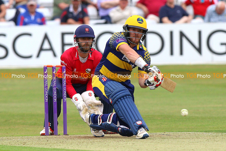 Will Bragg in batting action for Glamorgan as James Foster looks on from behind the stumps during Essex Eagles vs Glamorgan, Royal London One-Day Cup Cricket at the Essex County Ground on 26th July 2016