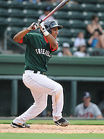 Infielder Dreily Guerrero (12) of the Greenville Drive in a game against the Rome Braves on July 8, 2012, at Fluor Field at the West End in Greenville, South Carolina. Greenville won, 12-3. (Tom Priddy/Four Seam Images)