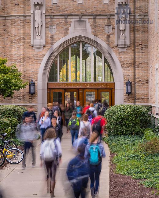 Oct. 14, 2015; Students exit Jordan Hall of Science (Photo by Matt Cashore/University of Notre Dame)