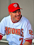 18 March 2009: Washington Nationals' infielder Pete Orr sits in the dugout prior to a televised Spring Training game against the Florida Marlins at Space Coast Stadium in Viera, Florida. The Marlins defeated the Nationals 7-5 in the Grapefruit League matchup. Mandatory Photo Credit: Ed Wolfstein Photo