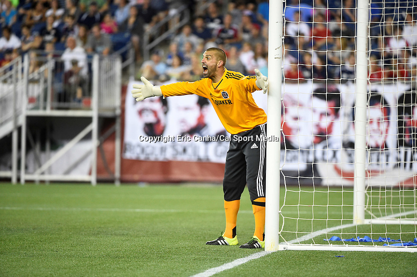 June 13, 2015 - Foxborough, Massachusetts, U.S. - Chicago Fire goalkeeper Jon Busch (18) directs teammates during the MLS game between Chicago Fire and the New England Revolution held at Gillette Stadium in Foxborough Massachusetts. The Revolution defeated the Fire 2-0. Eric Canha/CSM