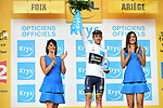 Simon Yates (GBR) Orica-Scott retains the White Jersey at the end of Stage 13 of the 104th edition of the Tour de France 2017, running 101km from Saint-Girons to Foix, France. 14th July 2017.<br /> Picture: ASO/Pauline Ballet | Cyclefile<br /> <br /> <br /> All photos usage must carry mandatory copyright credit (&copy; Cyclefile | ASO/Pauline Ballet)