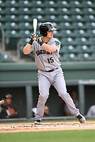 Catcher Rob Calabrese (15) of the Augusta GreenJackets bats in a game against the Greenville Drive on Wednesday, April 25, 2018, at Fluor Field at the West End in Greenville, South Carolina. Augusta won, 9-2. (Tom Priddy/Four Seam Images)