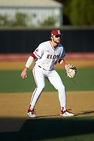 Elon Phoenix third baseman Jack Roberts (6) on defense against the Quinnipiac Bobcats at David F. Couch Ballpark on February 24, 2019 in  Winston-Salem, North Carolina. (Brian Westerholt/Four Seam Images)
