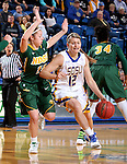 BROOKINGS, SD - FEBRUARY 6:  Macy Miller #12 from South Dakota State gets a step past Kennedy Childers #23 from North Dakota State Saturday afternoon at Frost Arena in Brookings. (Photo by Dave Eggen/Inertia)