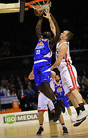 Saints' Majok Majok lays up under pressure from Rams' Michael Karena during the national basketball league match between Wellington Saints and Canterbury Rams at TSB Bank Arena in Wellington, New Zealand on Tuesday, 3 July 2018. Photo: Dave Lintott / lintottphoto.co.nz