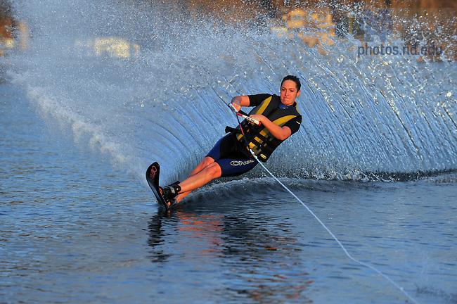 Christina Kolling skis on Indian Lake near Dowagiac, Michigan...Photo by Matt Cashore/University of Notre Dame