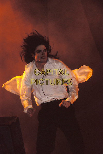 MICHAEL JACKSON.The World Music Awards,.Monte Carlo, 8th May 1996.stage gig music concert white shirt black trousers half length.www.capitalpictures.com.sales@capitalpictures.com.©Capital Pictures