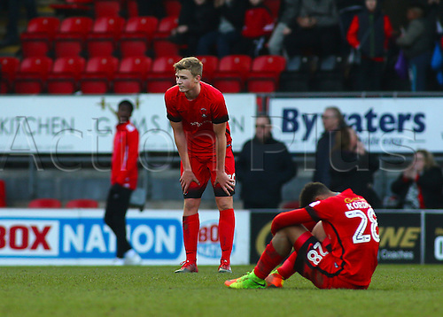 February 18th 2017,  Matchroom Stadium, Leyton, London, England, Skybet Division 2 football, Leyton Orient versus Notts County;  Sam Dalby of Leyton Orient and Josh Koroma of Leyton Orient look dejected at full time, after Notts County scored the winner in the 84th minute