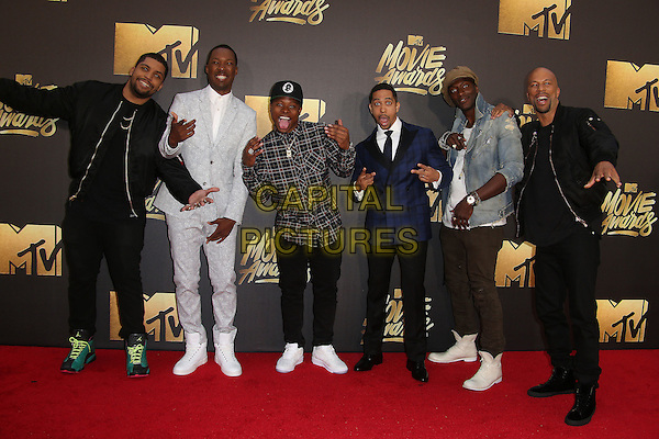 09 April 2016 - Burbank, California - O'Shea Jackson Jr., Corey Hawkins, recording artist Common, actors Neil Brown Jr. and Aldis Hodge. 2016 MTV Movie Awards held at Warner Bros. Studios. <br /> CAP/ADM/SAM<br /> &copy;SAM/ADM/Capital Pictures
