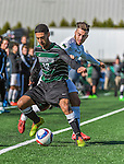 3 October 2015: Binghamton University Bearcat Backfielder Shervin Mohajeri (12), a Junior from London, England, battles University of Vermont Catamount Forward/Midfielder Stefan Lamanna, a Junior from Pickering, Ontario, during game action at Virtue Field in Burlington, Vermont. The Bearcats held on to defeat the Catamounts 2-1 in America East conference play. Mandatory Credit: Ed Wolfstein Photo *** RAW (NEF) Image File Available ***