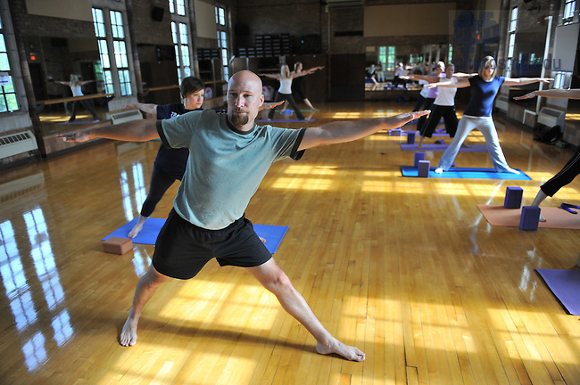 Yoga class, Rockne Memorial..Photo by Matt Cashore/University of Notre Dame