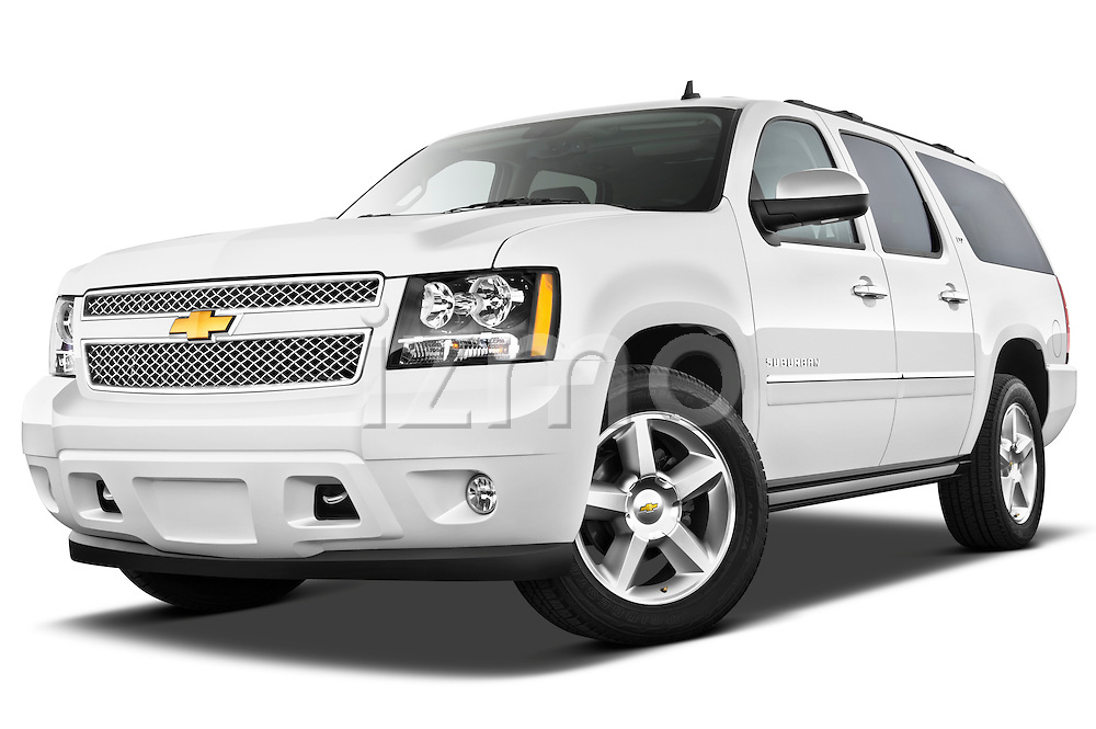 Low aggressive front three quarter view of a 2012 Chevrolet Suburban LTZ.