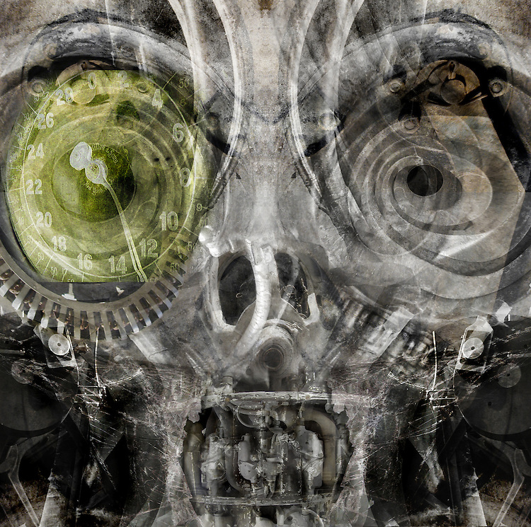 A conceptual image of an alien mechanical face with large round eyes