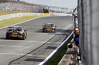 Round 10 of the 2018 British Touring Car Championship.  Race 1.  Halfords Yuasa Racing finishing 1-2.