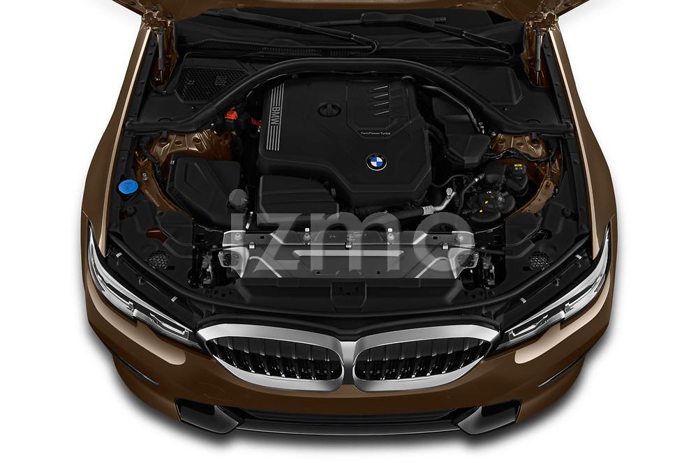 Car stock 2019 BMW 3-Series  Sport 4 Door Sedan engine high angle detail view
