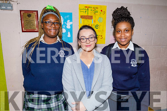 Whitney Osayanrhion with Aine Rice (Past pupil) and Angel Ariyiei at the Presentation Secondary schools 3rd Level Peer Event where the Past Pupils give a talk to the present student on Friday