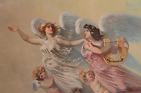 "Detail of muses and putti on the painted ceiling of the Theatre Imperial Napoleon III de Fontainebleau (Fontainebleau Theatre Napoleon III), 1853-1856, by Hector Lefuel, Fontainebleau, Seine-et-Marne, France. Restoration of the theatre began in Spring 2013 thanks to an agreement between the Emirate of Abu Dhabi and the French Governement dedicating 5 M€ to the restoration.  In recognition of the sponsorship by the Emirate of Abu Dhabi, French Governement decided to rename the theatre as ""Theatre Cheikh Khalifa bin Zayed Al Nahyan"" (Cheikh Khalifa bin Zayed Al Nahyan Theatre). The achievement of the first stage of renovation has allowed the opening of the theatre to the public on May 3, 2014. Picture by Manuel Cohen"